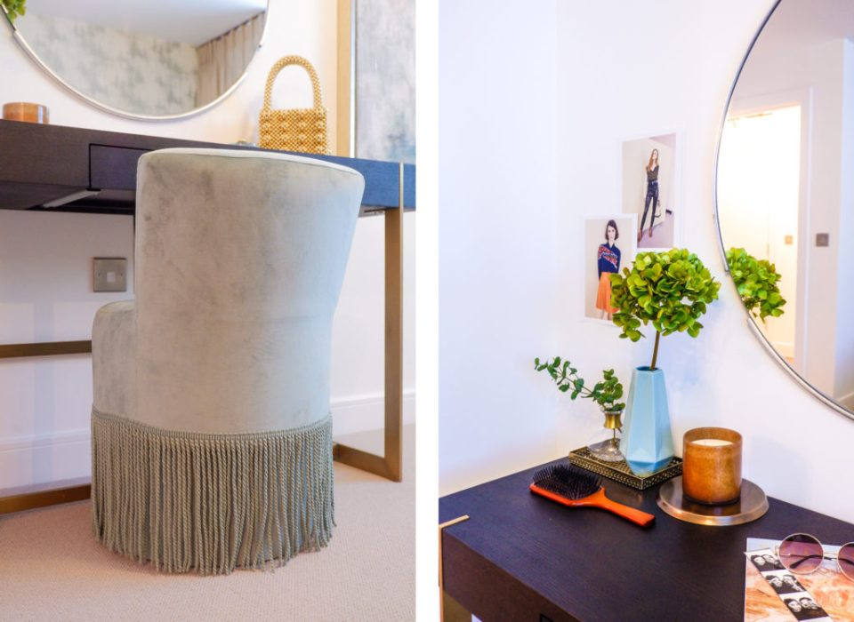 modern London apartment with dressing area, fringed chair and pink and blue design scheme
