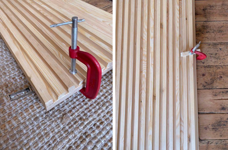 Fluted wood DIY cabinet