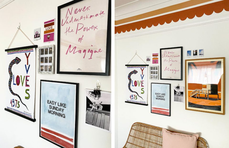 boho gallery wall with orange details