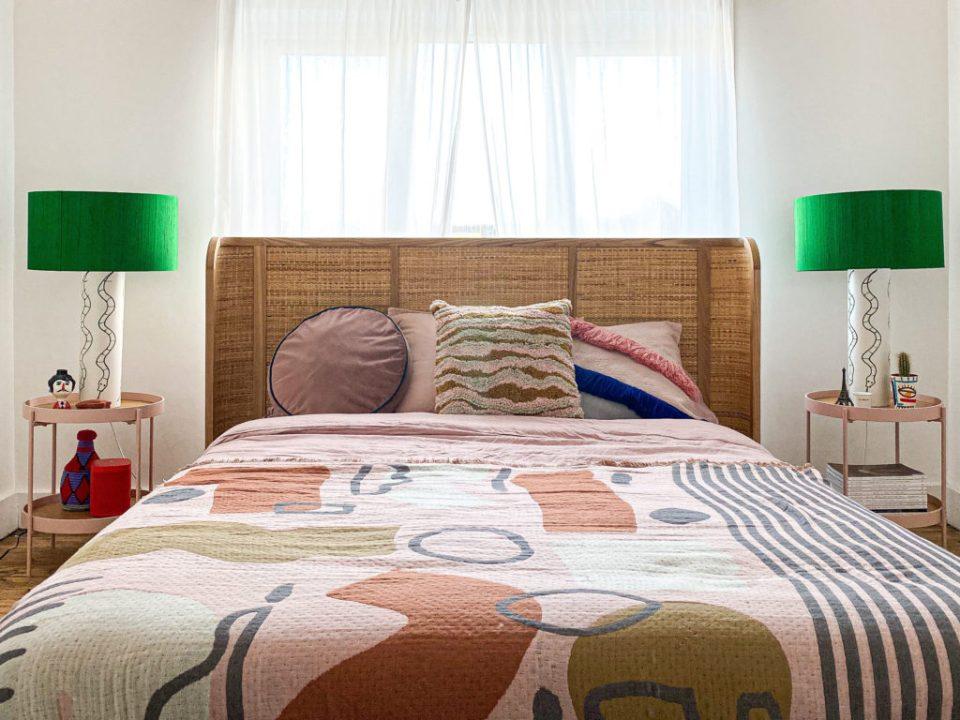 kingsize bed in moroccan boho bedroom