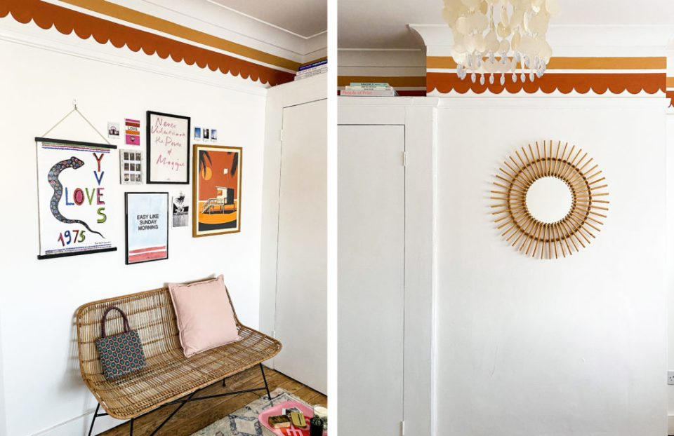 boho bedroom with moroccan paint palette