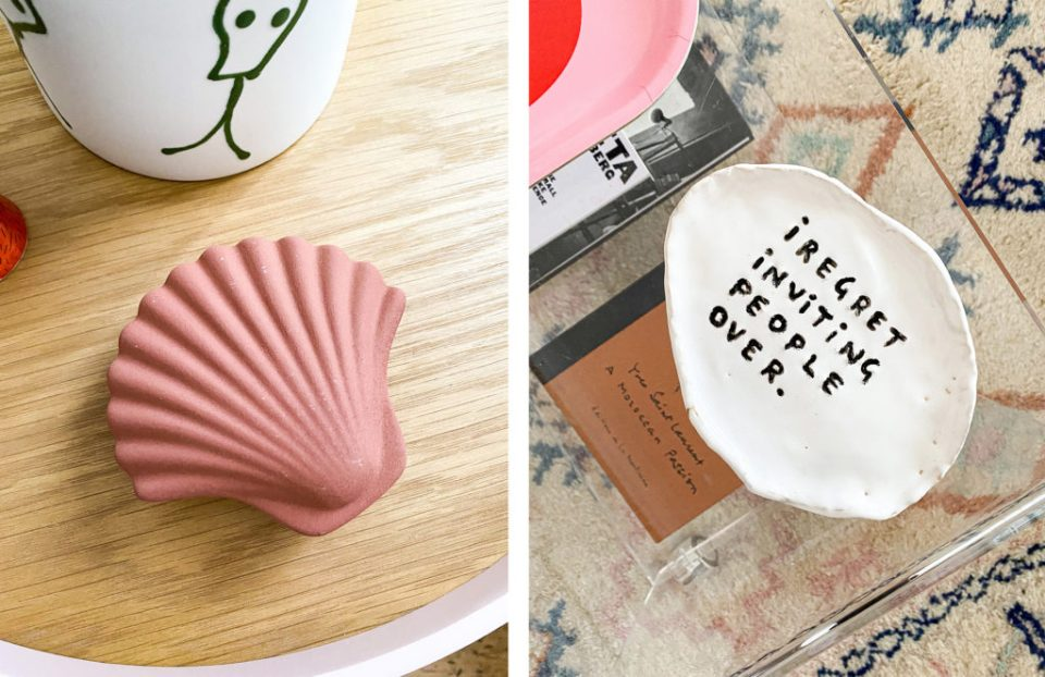 shell trinket box and sarcastic plate