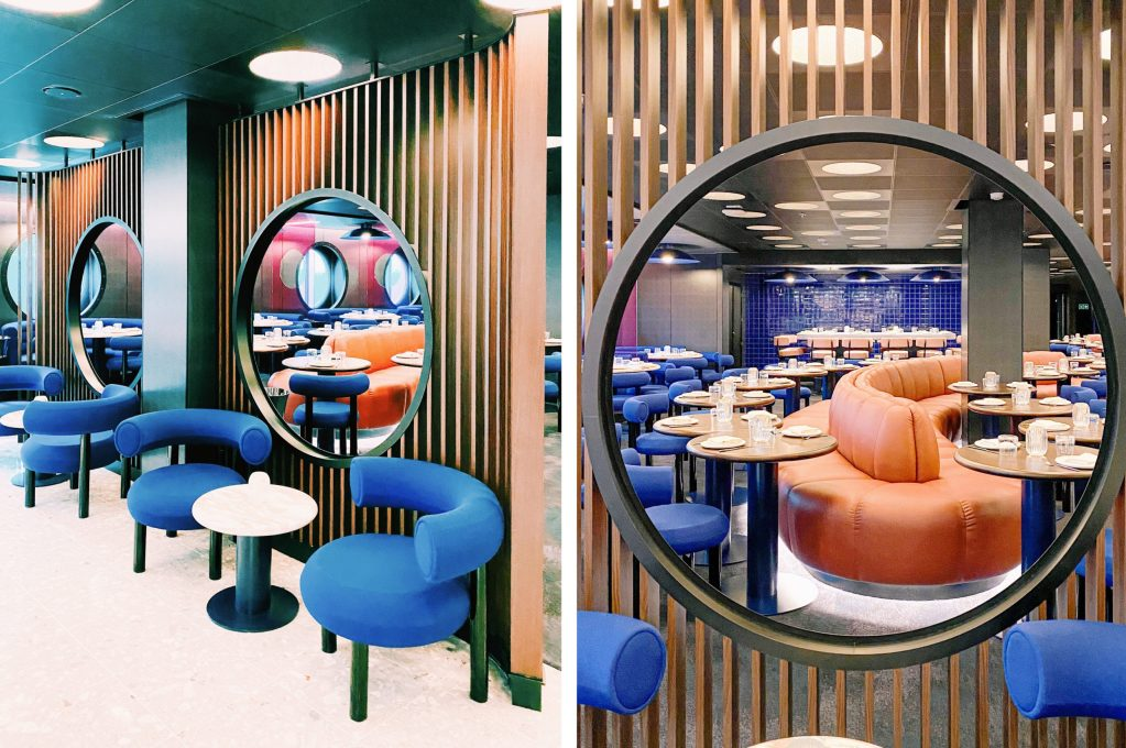 pink and blue interiors in restaurant