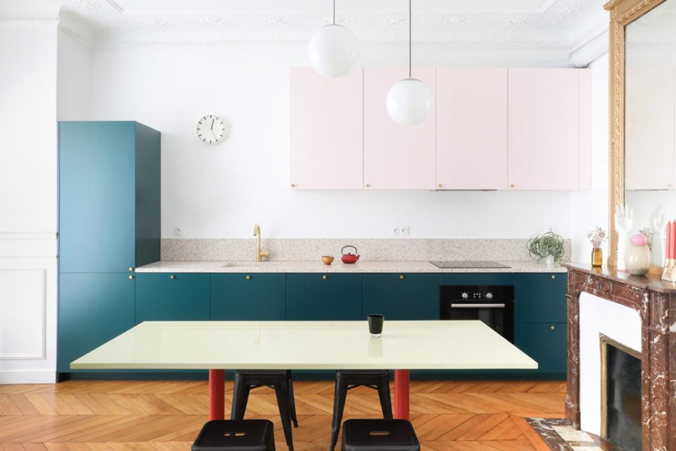 minimal blue and pink kitchen with terrazzo counters