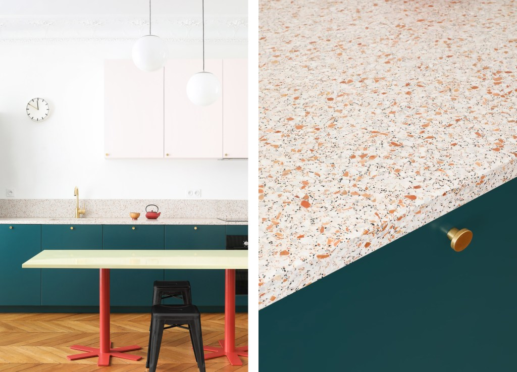 minimal kitchen with orange terrazzo worktops