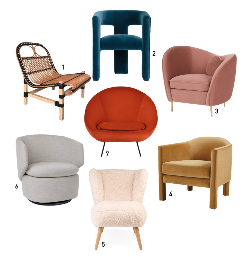 statement armchairs in mixed colours and materials
