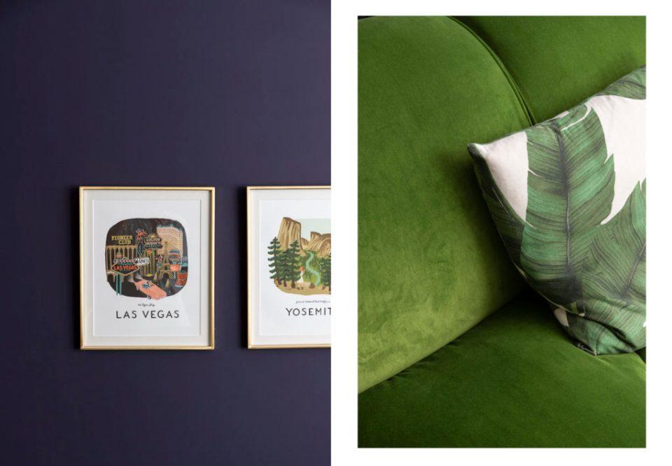 dark blue living room details with green velvet sofa