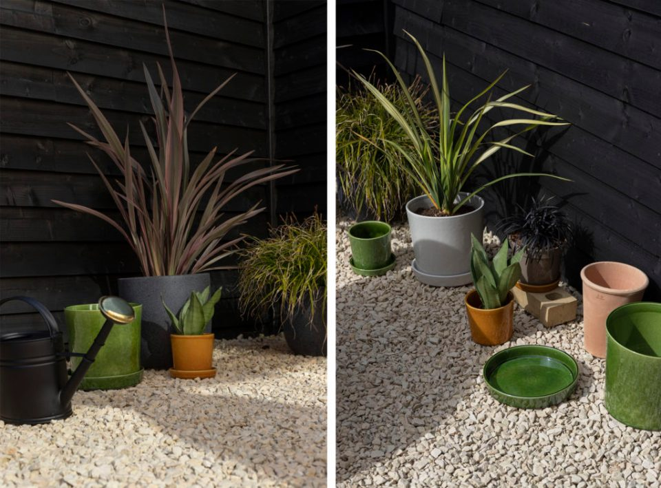 garden with terracotta plant pots from market