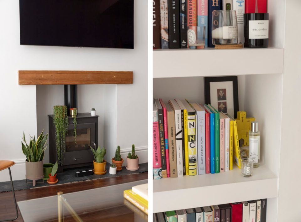 light living room with coloured bookshelf