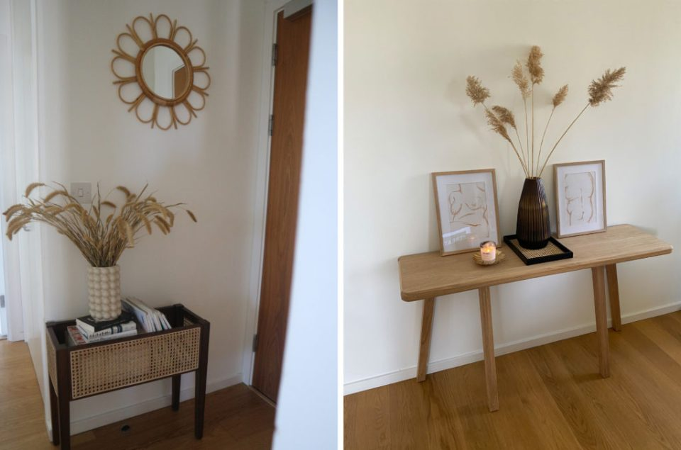 hallway consoles with rattan details