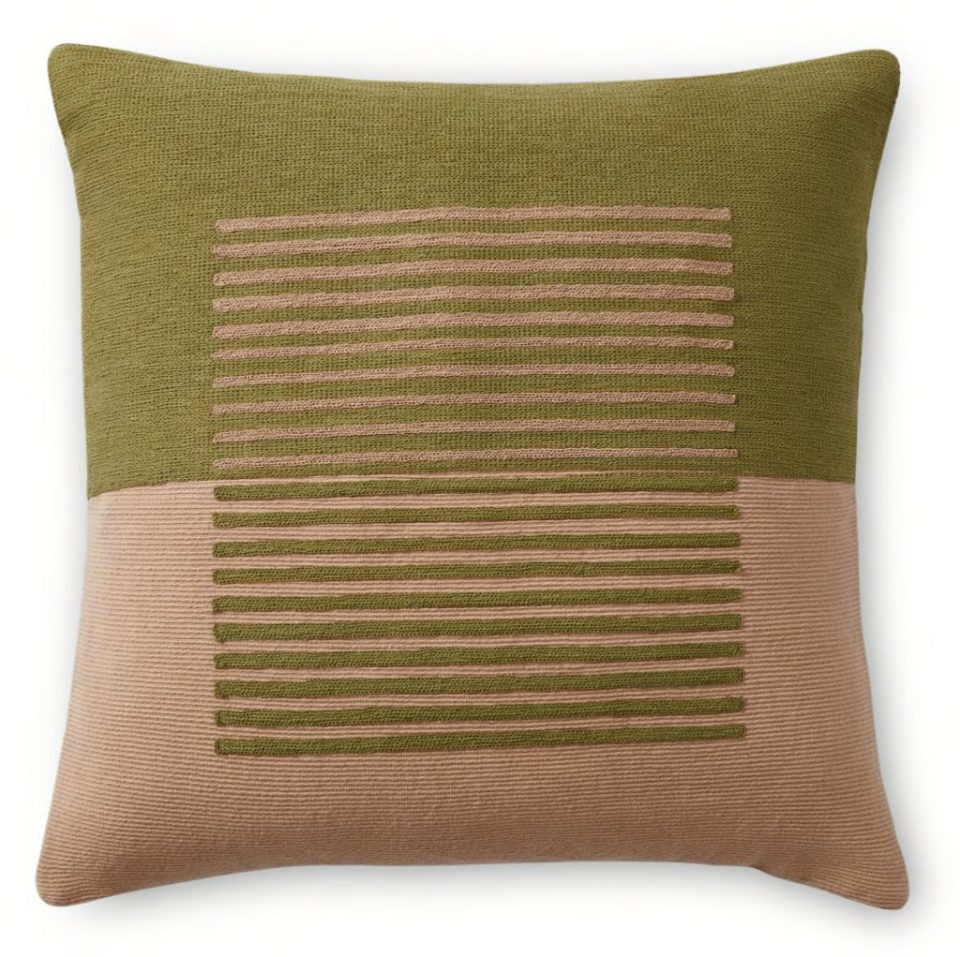 nude pink and olive green cushion