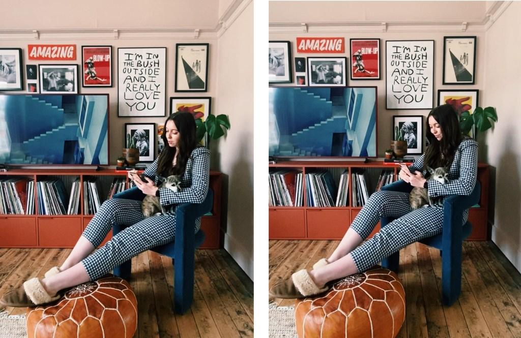girl looking at savings app on armchair