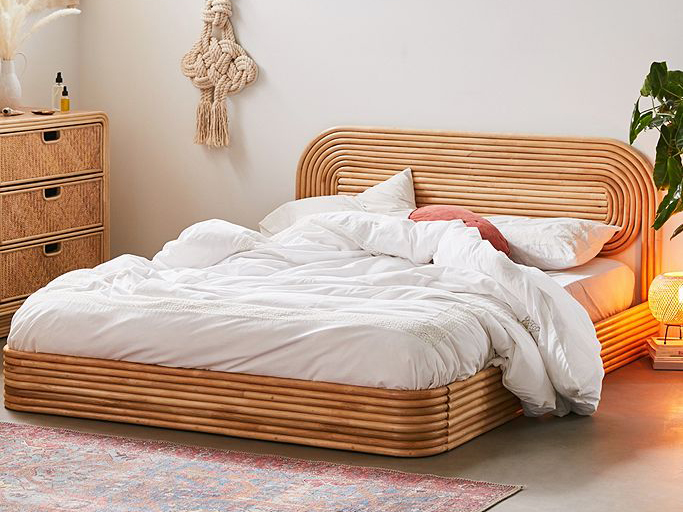 low rattan platform bed