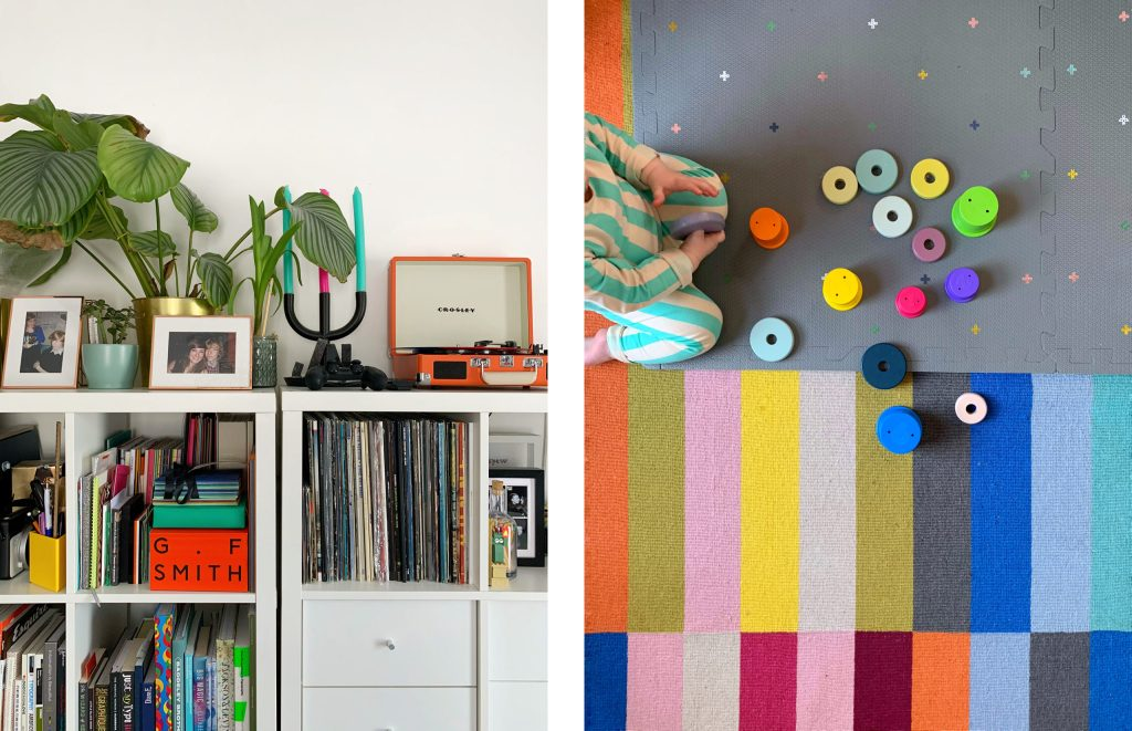 white ikea shelving and colourful rug with children's toys.