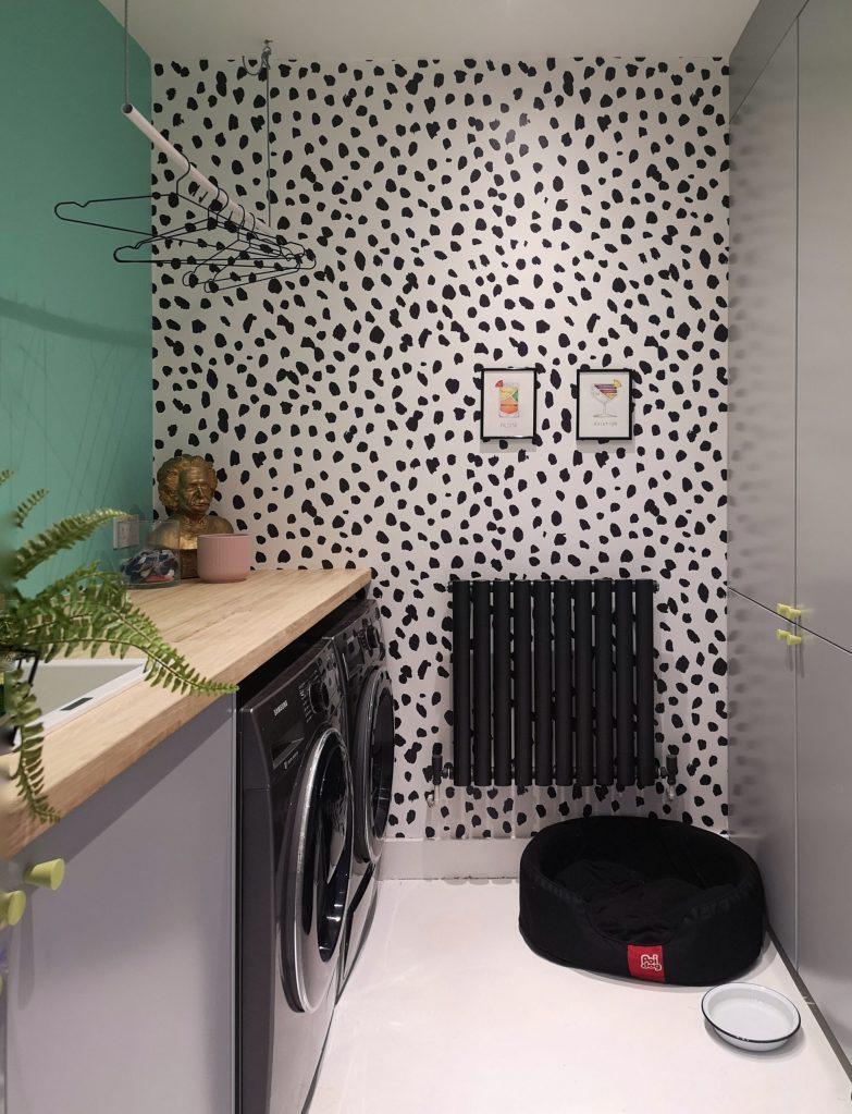 Dalmatian print wallpaper in utility room