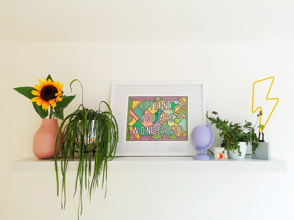 styled shelfie with print from Supermundane
