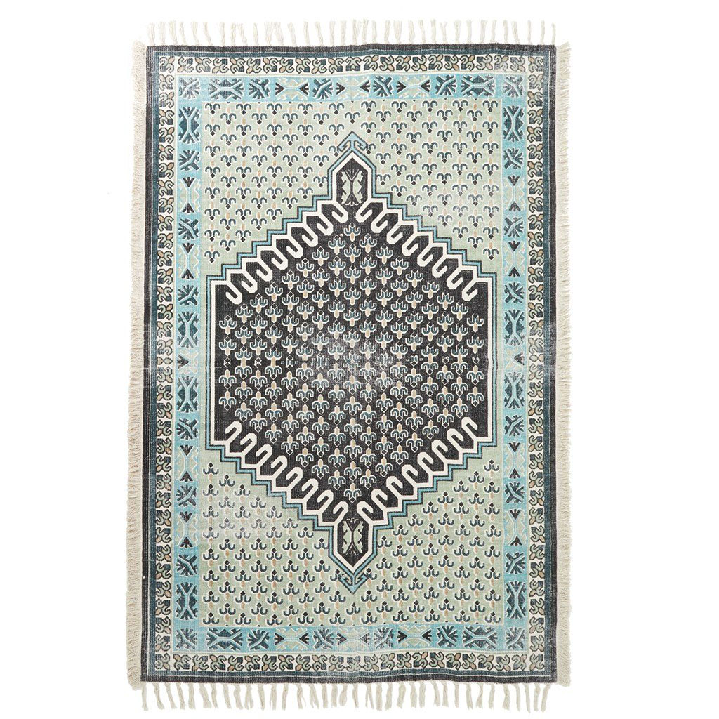 mint screen-printed dhurrie-style rug