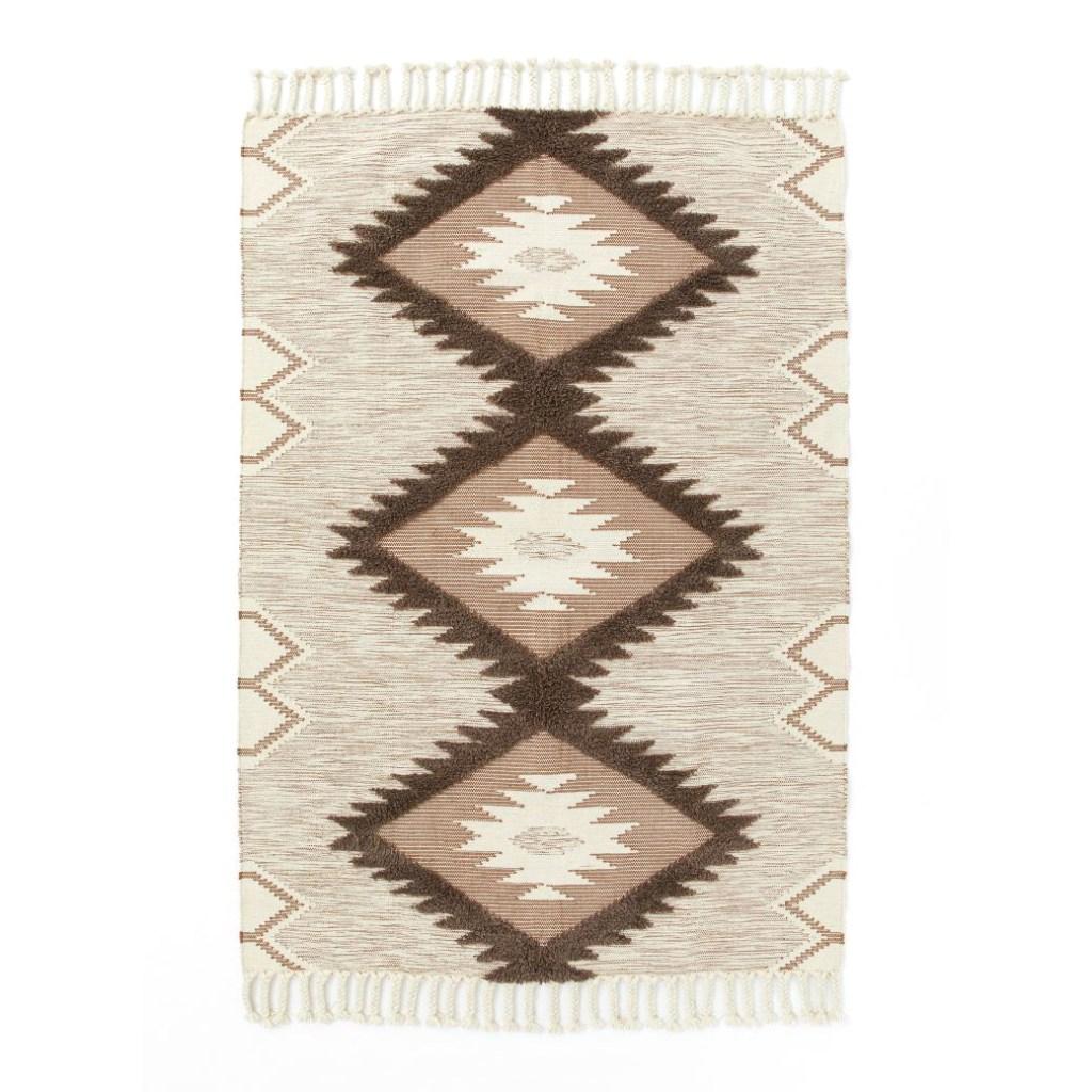 beige jacquard-weave rug