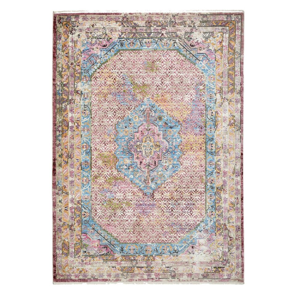 pink and blue Persian style rug