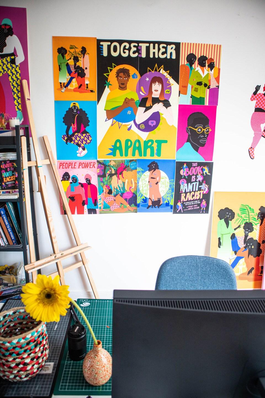 colourful prints by Aurelia Durand on wall