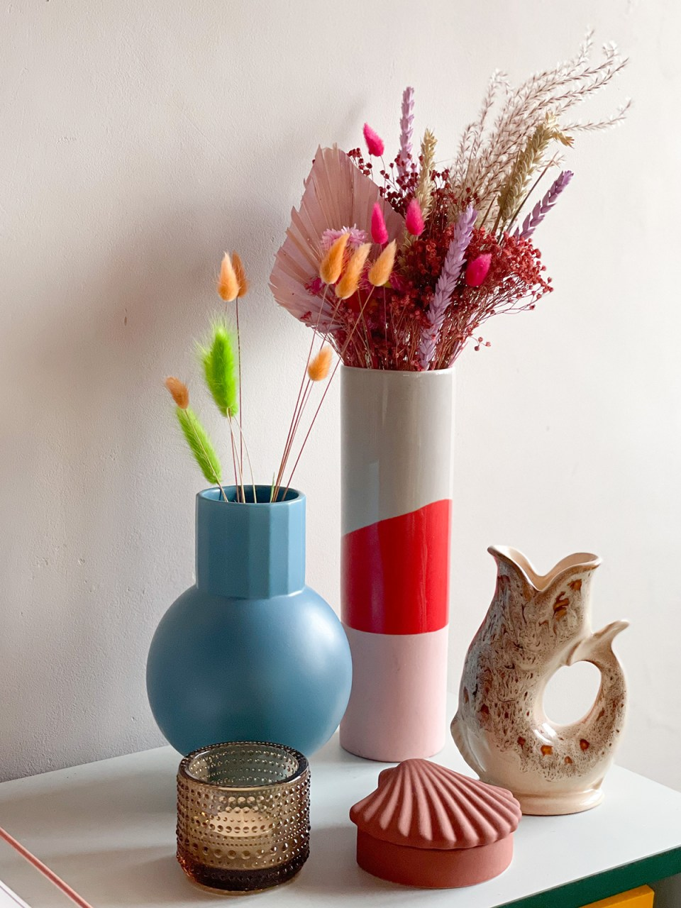 vases and decor with dried flowers