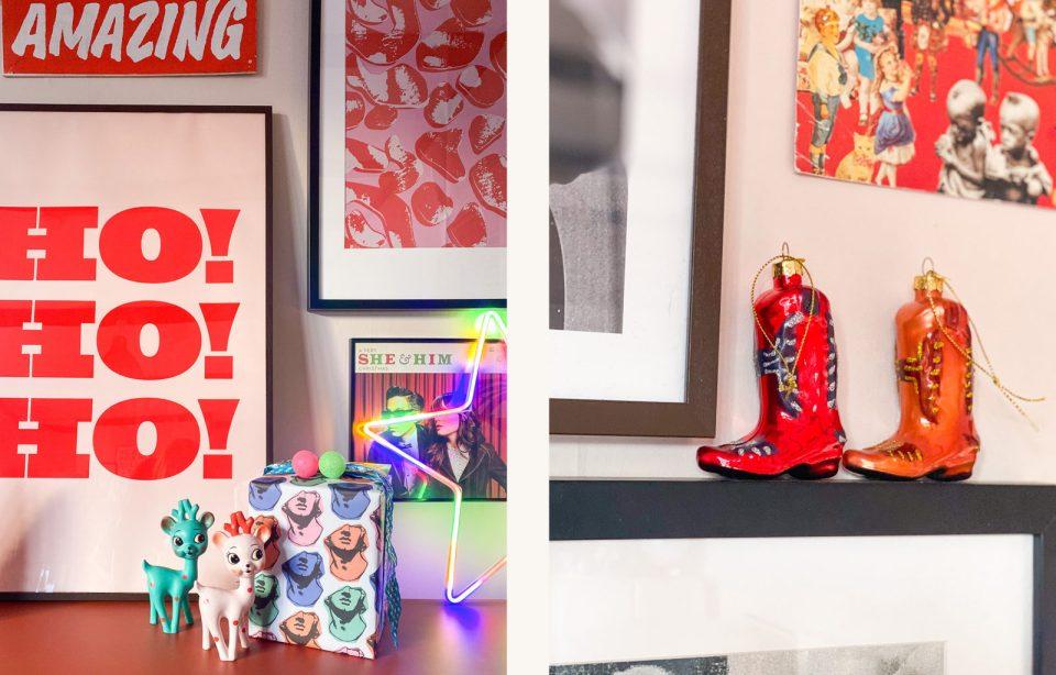 kitsch deer and cowboy boots in alternative Pop Art Christmas.