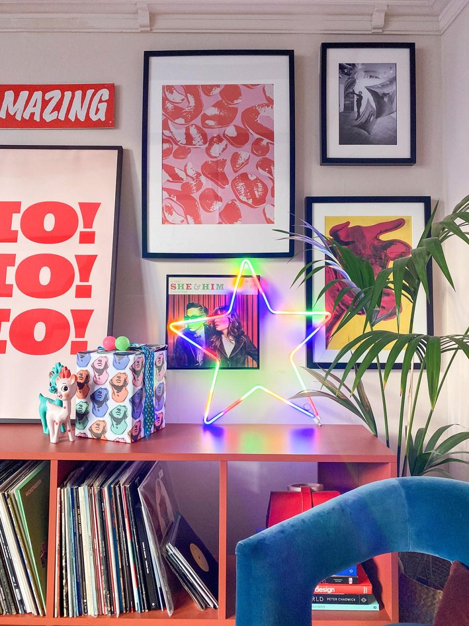 neon rainbow star in alternative Pop Art Christmas setup