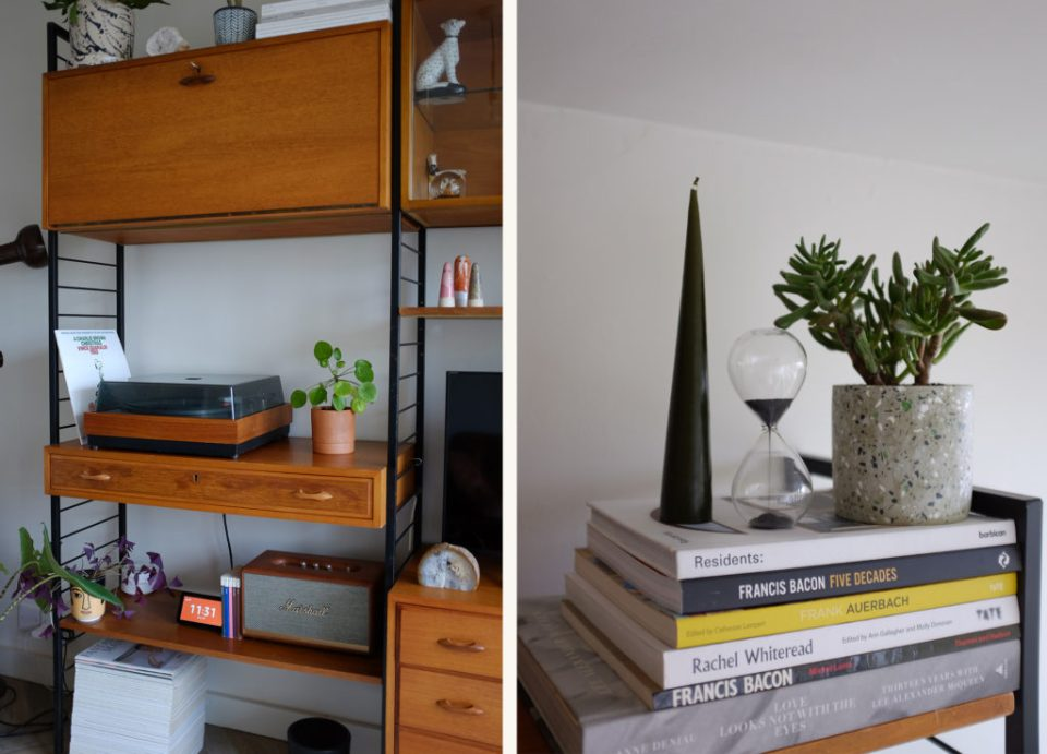 mid-century shelving with vinyl player and magazines
