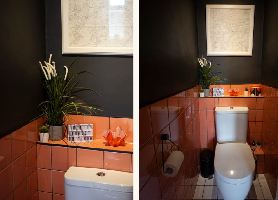 coral pink and navy toilet