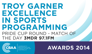 Troy Garner Excellence In Sports Programming Award 2014 - Community Broadcasting Association Australia