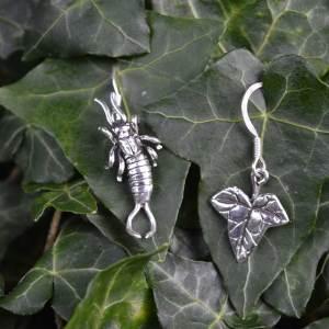 Earwig & Ivy Leaf Earrings (drop) - Emma Keating Jewellery