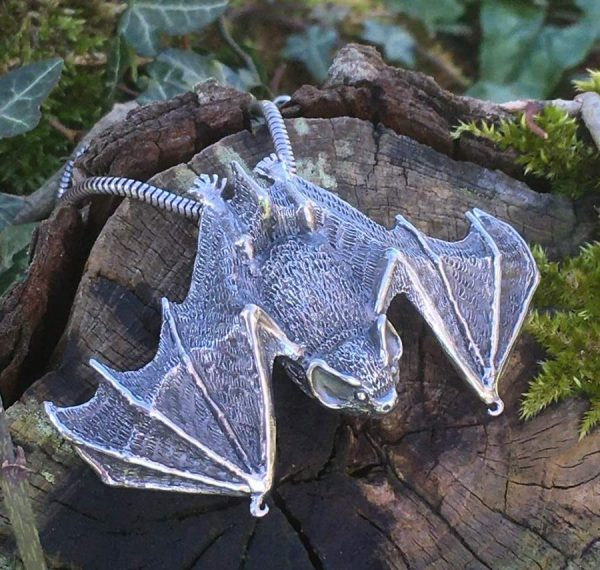 Pipistrelle Bat Pendant (wings open) - Emma Keating Jewellery