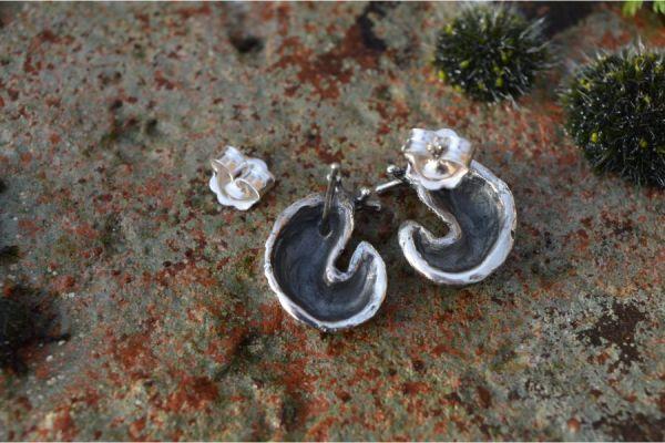 Back view of Sterling Silver Slug Earrings by Emma Keating Jewellery