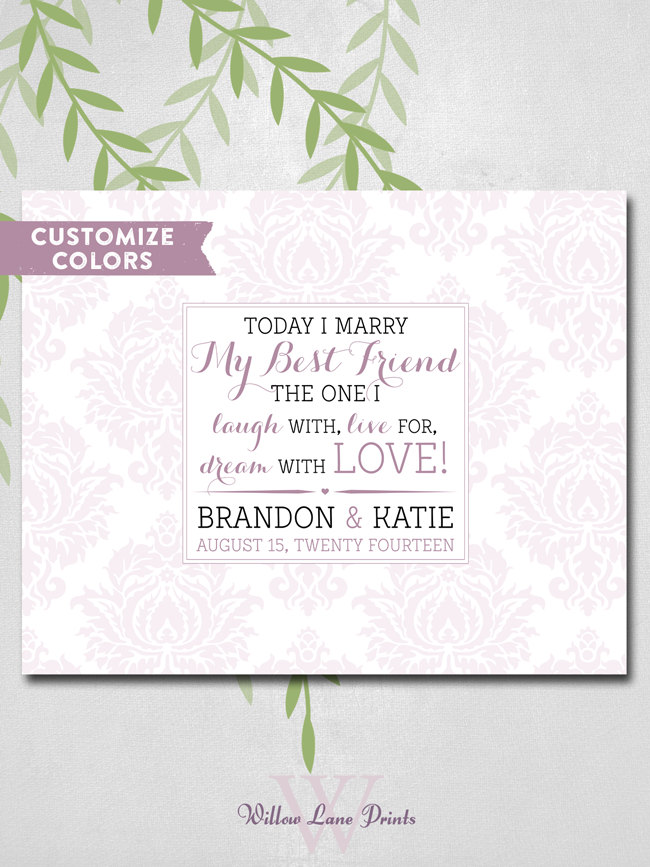Marry My Best Friend Personalized Signing Damask Wedding Guest Book Alternative Romantic Love E Today