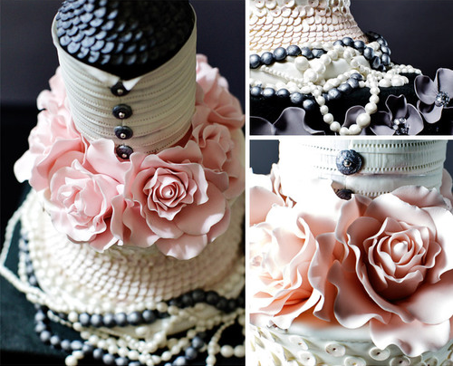 black pink pearls wedding cake