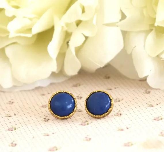 royal blue bridal earrings gold