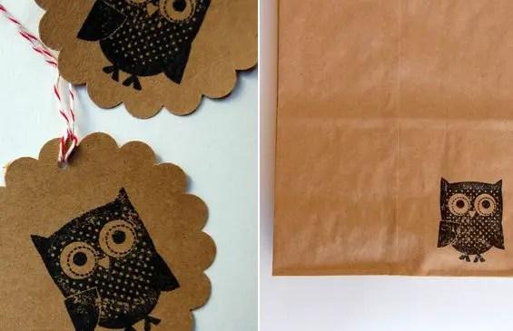 owl wedding tags bags