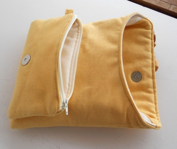 yellow clutch inside view