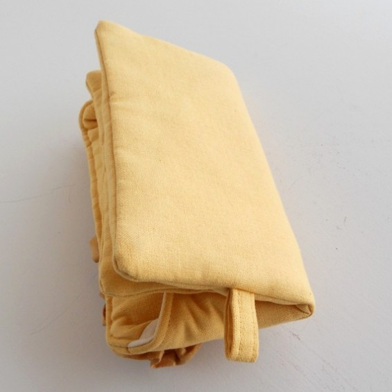 yellow clutch purse back