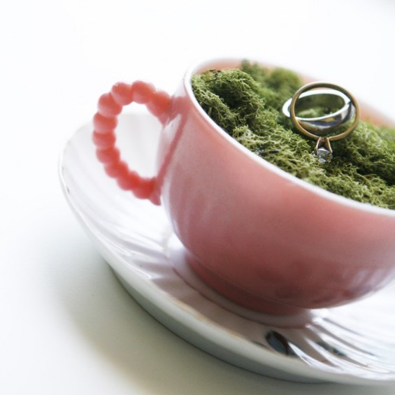 tea cup ring pillow