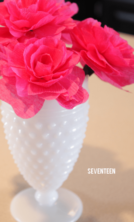 milk glass and crepe paper wedding centerpieces