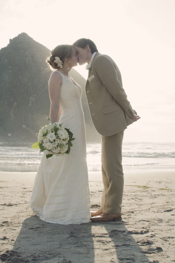 handmade beach wedding 10 - cute kiss