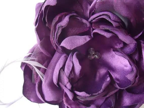 colorful bridal fascinators - purple hair bloom zoom