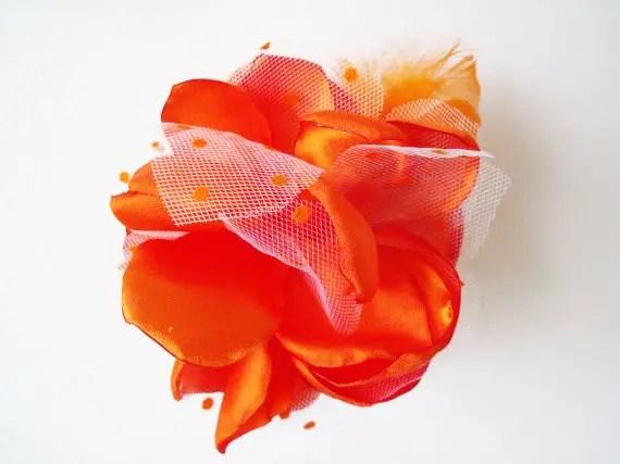 colorful bridal fascinators - gray hair flower with rhinestones zoom