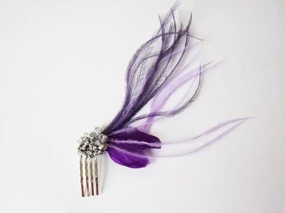colorful bridal fascinators - purple hair accessory