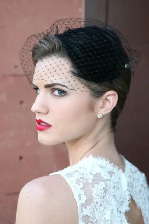 Black Wedding Veil / Fascinator for the Bride