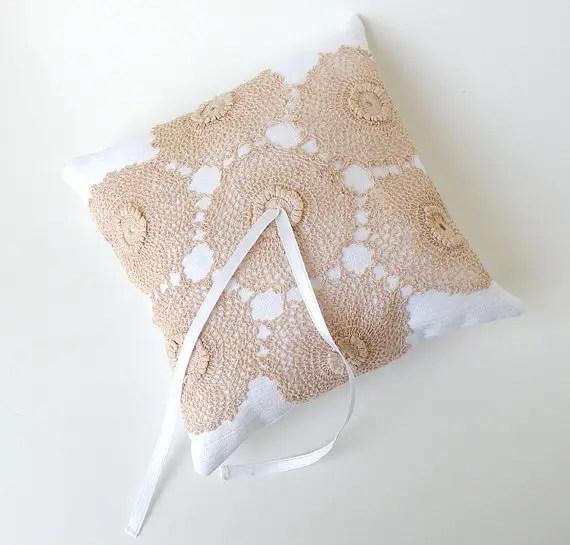 linen ring bearer pillow