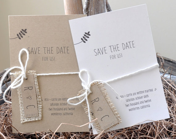 burlap wedding save the date