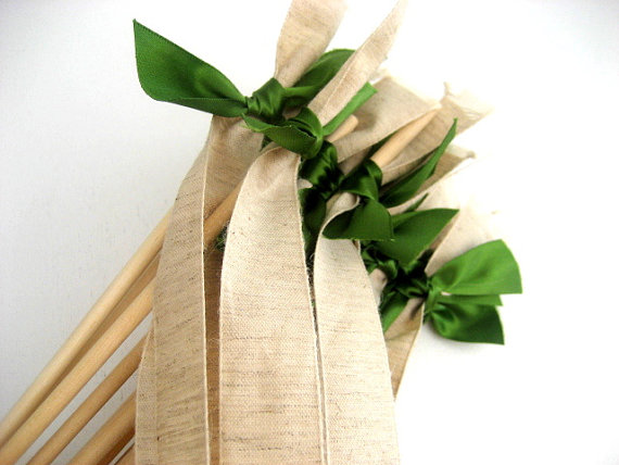 burlap wedding flower girl wand