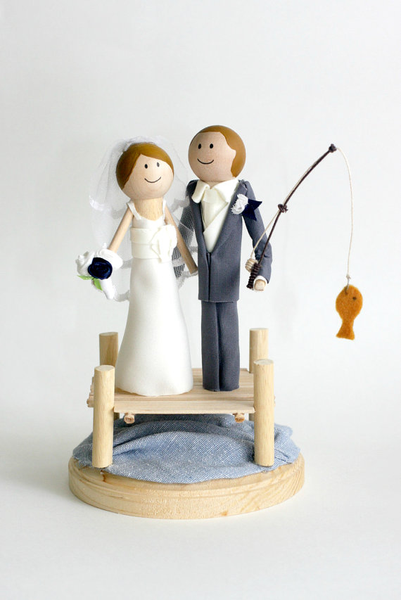 custom made wedding cake toppers fishing cake topper handmade wedding cake topper 3246